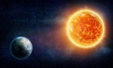 Fuerza de atracción entre la tierra y el sol
